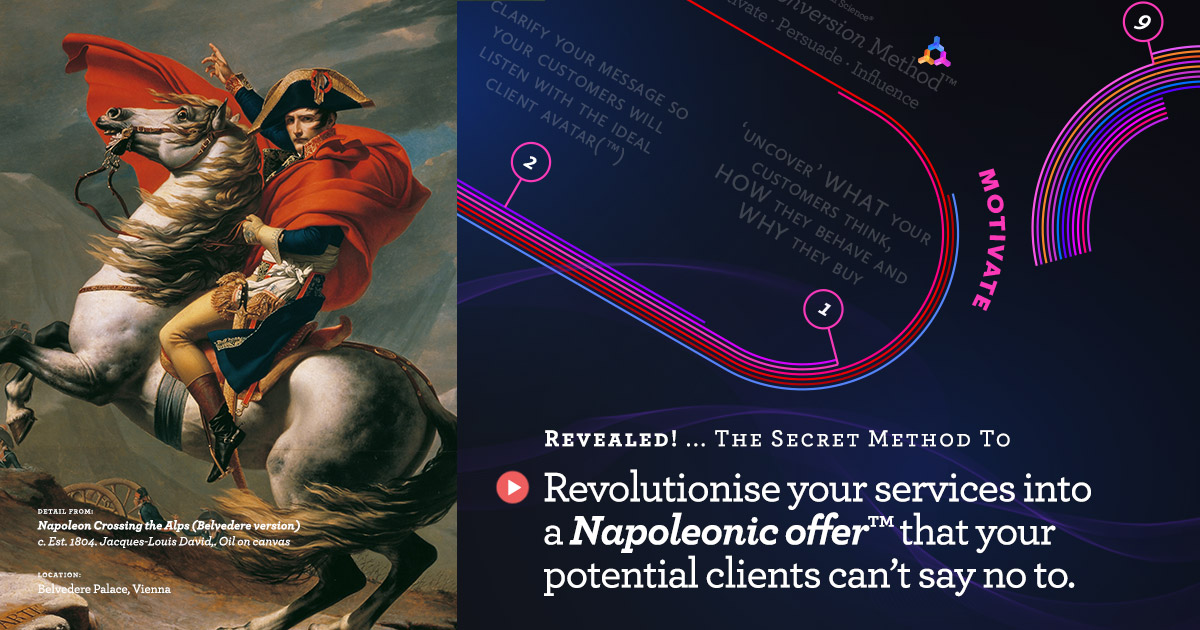 Digital marketing using the Napoleonic Model. (The 2 step strategy to a client winning victory!)  https://anartfulsciene.com/